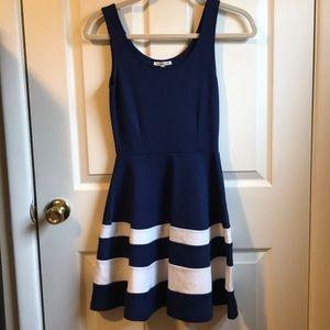 Charlotte Russe Navy Stripe Skater Dress